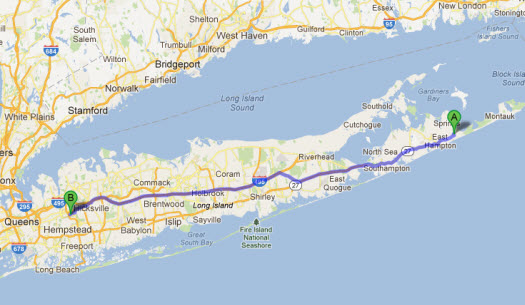 Directions to HRC from Commack, New York