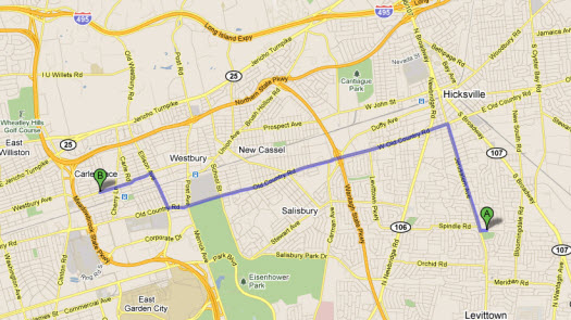 Directions to HRC from Levittown, New York
